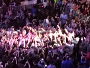Yes, he's crowd surfing!