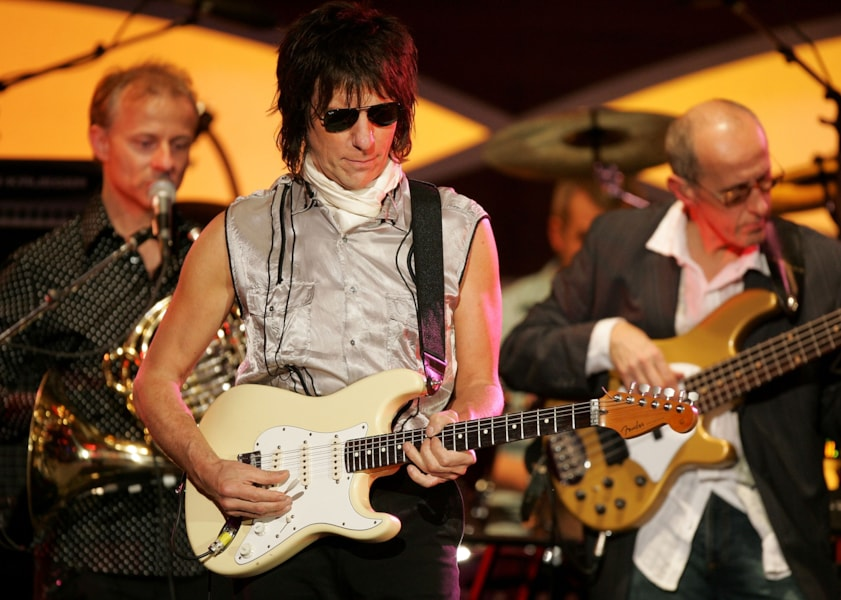 Musician Jeff Beck performs onstage at the MusiCares 2005 Person of the Year Tribute to Brian Wilson at the Palladium on February 11, 2005 in Hollywood, California.