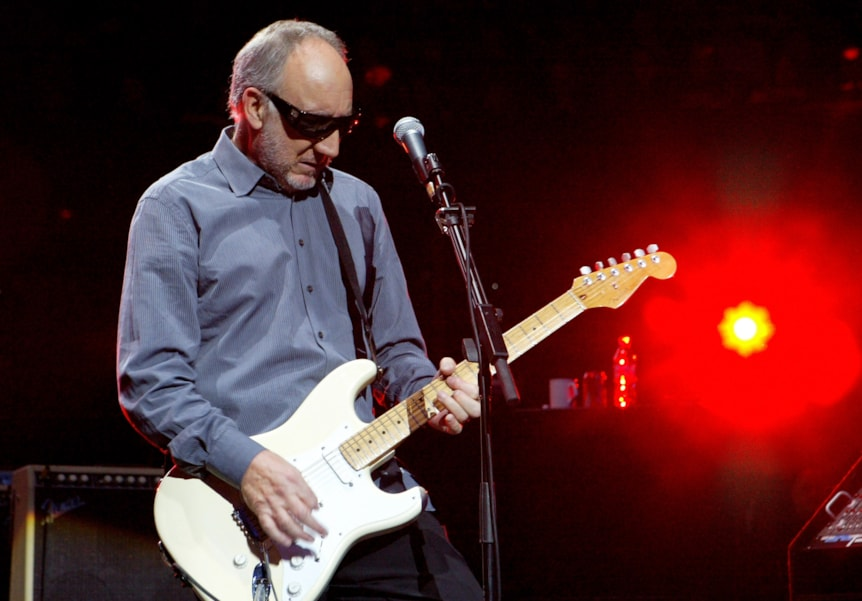 LONDON - MARCH 31:   Pete Townshend of The Who performs live on stage during the final night of a series of concerts and events in aid of Teenage Cancer Trust organised by charity Patron Roger Daltrey, at the Royal Albert Hall on March 31, 2007 in London, England.