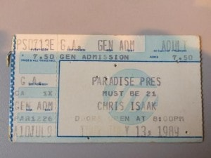 The infamous show where I got carried across the Paradise stage by Chris Isaak...and my ex-husband was in the audience. Yea.