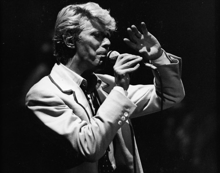 British rock singer and actor David Bowie performs on stage in Brussels, Belgium, May 19, 1983. (Photo by Express Newspapers/Getty Images)