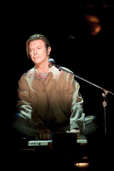 David Bowie performing onstage at The Concert for New York City to benefit the victims of the World Trade Center disaster.  October 20, 2001 (Photo: Scott Gries/ImageDirect)