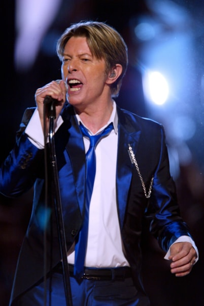 David Bowie onstage performing at the 2002 VH1 Vogue Fashion Awards at Radio City Music Hall in New York City, 10/15/02. Photo by Scott Gries/Getty Images.