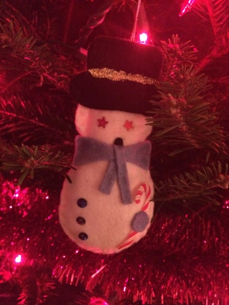 One year my mom spent who knows how long creating all of these little cloth ornaments which she gave to my daughter for Christmas. Here's her snowman.