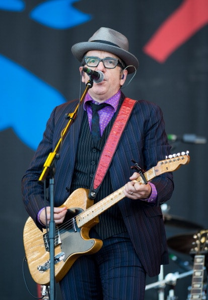 GLASTONBURY, ENGLAND - JUNE 29: Elvis Costello performs on the Pyramid Stage during day 3 of the 2013 Glastonbury Festival at Worthy Farm on June 29, 2013 in Glastonbury, England. (Photo by Ian Gavan/Getty Images)