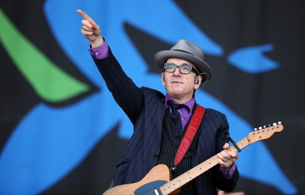 GLASTONBURY, ENGLAND - JUNE 29:  Elvis Costello performs on the Pyramid Stage at the Glastonbury Festival of Contemporary Performing Arts site at Worthy Farm, Pilton on June 29, 2013 near Glastonbury, England.  (Photo by Matt Cardy/Getty Images)