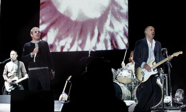 GLASTONBURY, UNITED KINGDOM - JUNE 24:  Roger Daltrey (L) and Pete Townshend of The Who perform on the Pyramid Stage on the final day of the Glastonbury Festival at Worthy Farm, Pilton near Glastonbury, on June 24, 2007 in Somerset, England.  The Festival, started by dairy farmer Michael Eavis in 1970, has grown into the largest music festival in Europe.  (Photo by Rosie Greenway/Getty Images)