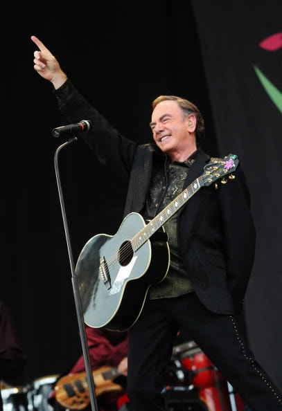 GLASTONBURY, UNITED KINGDOM - JUNE 29:  Neil Diamond performs on the Pyramid stage during day three of the Glastonbury Festival at Worthy Farm, Pilton on June 29, 2008 in Glastonbury, Somerset, England.  (Photo by Jim Dyson/Getty Images)