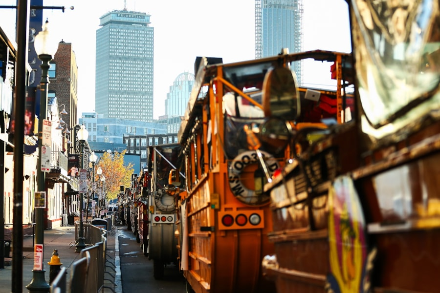 BOSTON, MA - OCTOBER 31:  Duck boats line up on Lansdwone Street before the Boston Red Sox 2018 World Series parade outside of Fenway Park on October 31, 2018 in Boston, Massachusetts. (Photo by Adam Glanzman/Getty Images)