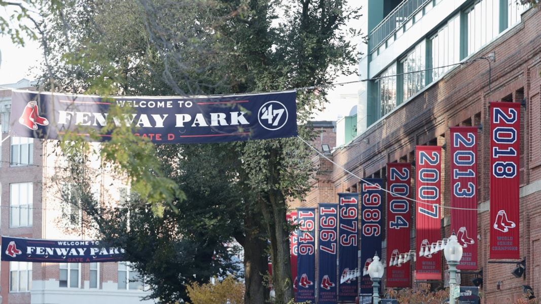 BOSTON, MA - OCTOBER 31:  World Series Champions 2018 banner hangs outside Fenway Park before the Boston Red Sox Victory Parade on October 31, 2018 in Boston, Massachusetts.  (Photo by Omar Rawlings/Getty Images)