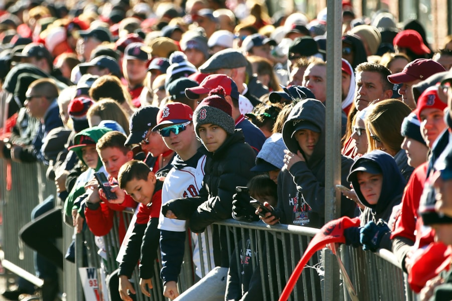 BOSTON, MA - OCTOBER 31:  Fans gather before the Boston Red Sox 2018 World Series parade outside of Fenway Park on October 31, 2018 in Boston, Massachusetts. (Photo by Adam Glanzman/Getty Images)