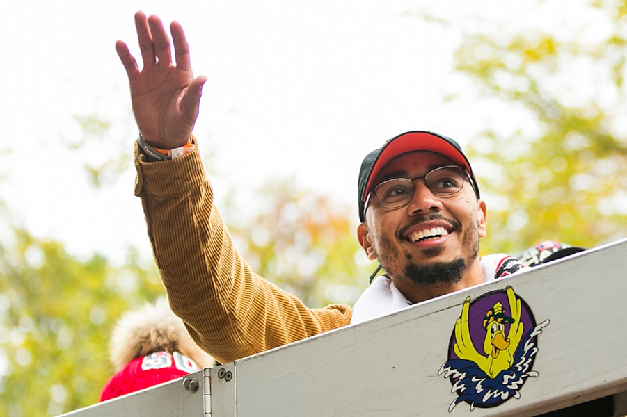 BOSTON, MA - OCTOBER 31:  Mookie Betts #50 the Boston Red Sox reacts on a duck boat during the 2018 World Series victory parade on October 31, 2018 in Boston, Massachusetts. (Photo by Adam Glanzman/Getty Images)