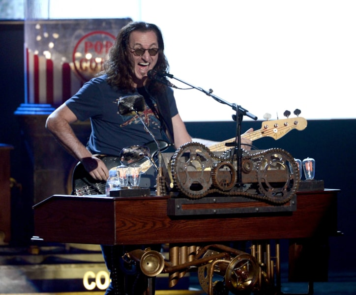 LOS ANGELES, CA - APRIL 18:  Inductee Geddy Lee of Rush performs onstage at the 28th Annual Rock and Roll Hall of Fame Induction Ceremony at Nokia Theatre L.A. Live on April 18, 2013 in Los Angeles, California.  (Photo by Kevin Winter/Getty Images)