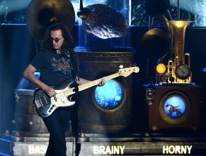 LOS ANGELES, CA - APRIL 18:  Inductee Geddy Lee of Rush performs on stage at the 28th Annual Rock and Roll Hall of Fame Induction Ceremony at Nokia Theatre L.A. Live on April 18, 2013 in Los Angeles, California.  (Photo by Kevin Winter/Getty Images)