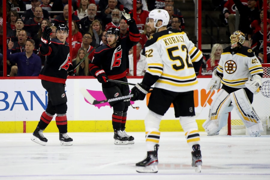 RALEIGH, NORTH CAROLINA - MAY 14: Micheal Ferland #79 and Jordan Staal #11 of the Carolina Hurricanes call for a penalty against the Boston Bruins during the first period in Game Three of the Eastern Conference Finals during the 2019 NHL Stanley Cup Playoffs at PNC Arena on May 14, 2019 in Raleigh, North Carolina. (Photo by Bruce Bennett/Getty Images)
