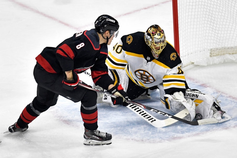 RALEIGH, NORTH CAROLINA - MAY 14: Saku Maenalanen #8 of the Carolina Hurricanes takes a shot on Tuukka Rask #40 of the Boston Bruins during the first period in Game Three of the Eastern Conference Finals during the 2019 NHL Stanley Cup Playoffs at PNC Arena on May 14, 2019 in Raleigh, North Carolina. (Photo by Grant Halverson/Getty Images)