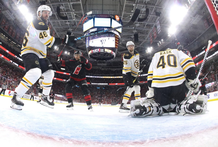 RALEIGH, NORTH CAROLINA - MAY 14: Tuukka Rask #40 of the Boston Bruins gives up a goal to Calvin de Haan #44 of the Carolina Hurricanes during the second period in Game Three of the Eastern Conference Finals during the 2019 NHL Stanley Cup Playoffs at PNC Arena on May 14, 2019 in Raleigh, North Carolina. (Photo by Bruce Bennett/Getty Images)