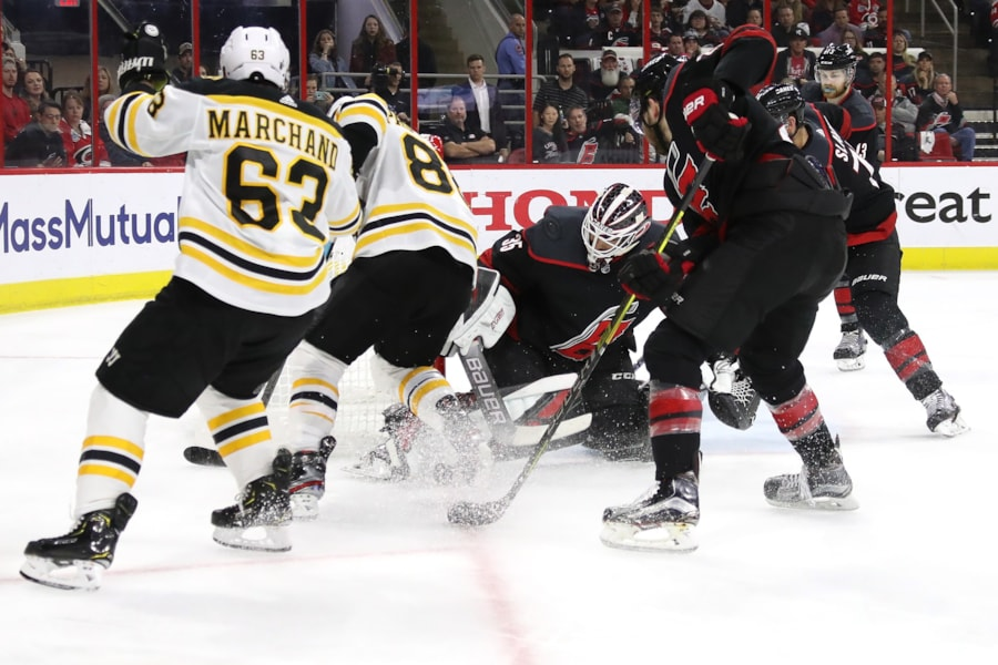 RALEIGH, NORTH CAROLINA - MAY 14: Curtis McElhinney #35 of the Carolina Hurricanes tends goal against the Boston Bruins during the second period in Game Three of the Eastern Conference Finals during the 2019 NHL Stanley Cup Playoffs at PNC Arena on May 14, 2019 in Raleigh, North Carolina. (Photo by Bruce Bennett/Getty Images)
