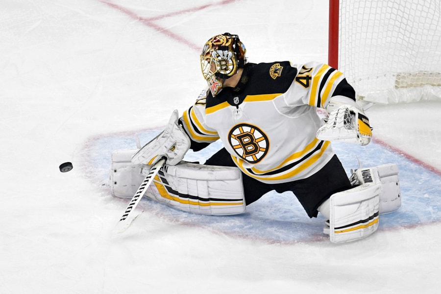 RALEIGH, NORTH CAROLINA - MAY 14: Tuukka Rask #40 of the Boston Bruins makes a save against the Carolina Hurricanes during the third period in Game Three of the Eastern Conference Finals during the 2019 NHL Stanley Cup Playoffs at PNC Arena on May 14, 2019 in Raleigh, North Carolina. (Photo by Grant Halverson/Getty Images)