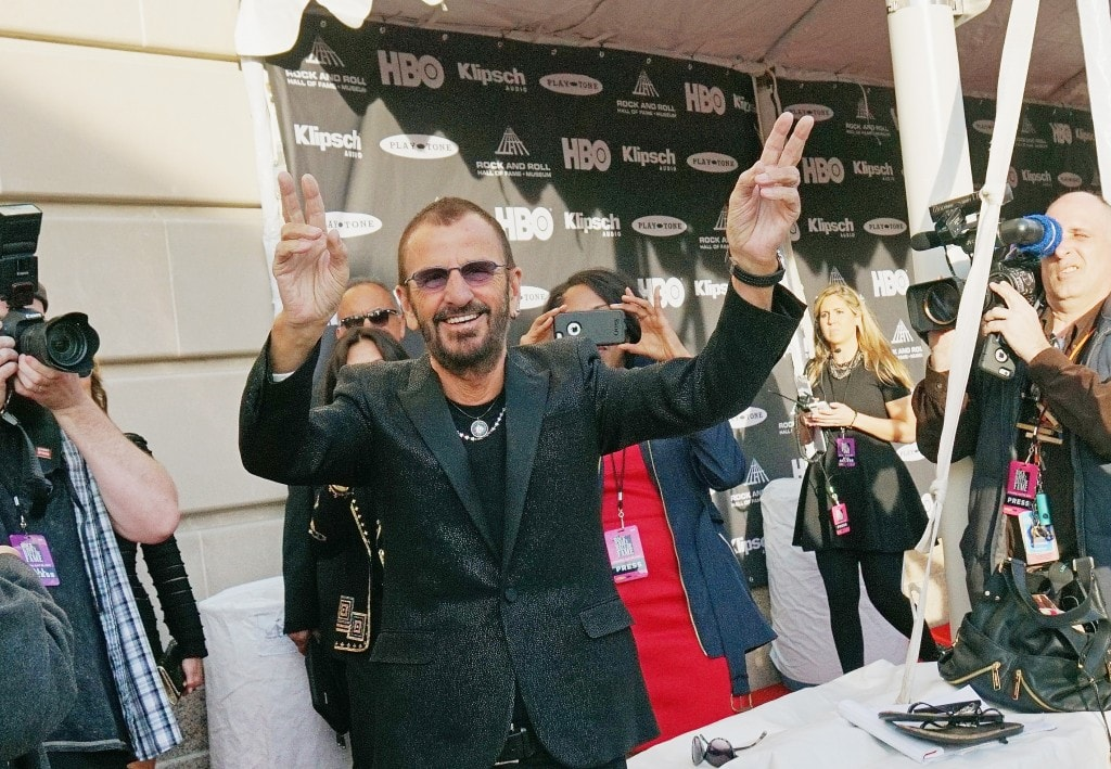 CLEVELAND, OH - APRIL 18: (EDITORS NOTE: This image was processed using digital filters.) Ringo Starr attends the 30th Annual Rock And Roll Hall Of Fame Induction Ceremony at Public Hall on April 18, 2015 in Cleveland, Ohio.  (Photo by Mike Coppola/Getty Images)