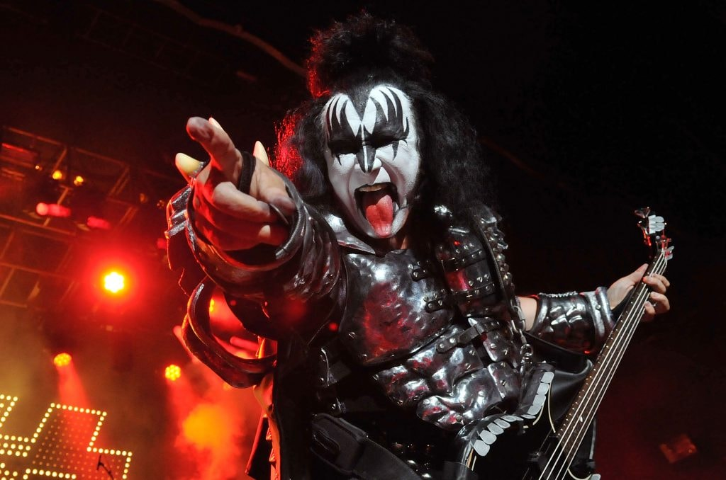 LONDON, ENGLAND - JULY 04:  Gene Simmons of US rock group Kiss performs live on stage, for a one-off Independence Day show as a fundraiser for the Help for Heroes charity, at The Kentish Town Forum on July 4, 2012 in London, England.  (Photo by Jim Dyson/Getty Images)
