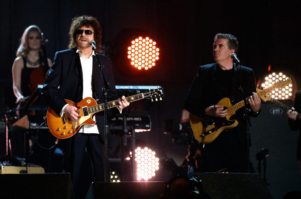 Singer Jeff Lynne of Jeff Lynne's ELO onstage during The 57th Annual GRAMMY Awards at the at the STAPLES Center on February 8, 2015 in Los Angeles, California.