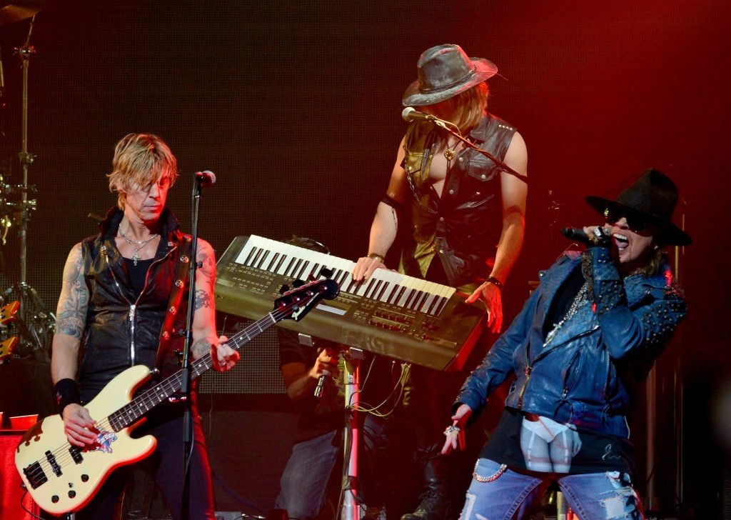 LOS ANGELES, CA - APRIL 23:  (L-R) Bassist Duff McKagan and  singer Axl Rose of Guns N 'Roses perform onstage at the 6th Annual Revolver Golden Gods Award Show at Club Nokia on April 23, 2014 in Los Angeles, California.  (Photo by Frazer Harrison/Getty Images)