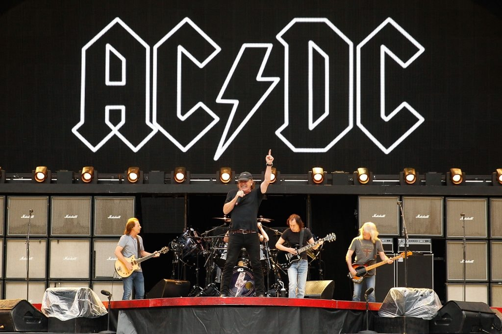 AC/DC perform on stage during a media call ahead of their 'Rock or Bust' world tour at ANZ Stadium on November 3, 2015 in Sydney, Australia.  (Photo by Brendon Thorne/Getty Images)
