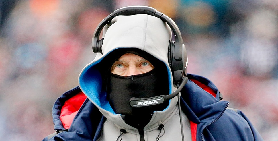 Head coach Bill Belichick of the New England Patriots looks on against the New York Jets at Gillette Stadium on Dec. 31, 2017. (Photo by Jim Rogash/Getty Images)