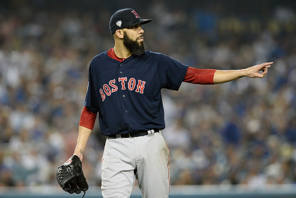 Oct 28, 2018; Los Angeles, CA: Boston Red Sox pitcher David Price reacts in the sixth inning against the Los Angeles Dodgers in game five of the 2018 World Series at Dodger Stadium. (Gary A. Vasquez-USA TODAY Sports)